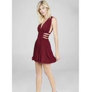 Dark Red Satin Dress with Strappy Sides